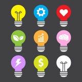 Pomysł lampowej kolorowej ikony mieszkania ustalony styl Obraz Royalty Free