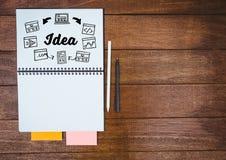 Pomysłu doodle na notepad z piórami i kleistymi notatkami Obraz Stock