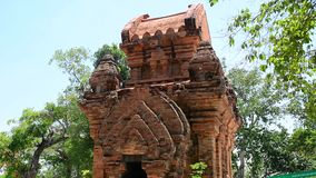 Ponagar tower, ancient temple stock footage