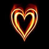 płonąca pożarowej namiętności serca Zdjęcie Royalty Free