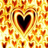 płonąca pożarowej namiętności serca Obrazy Stock