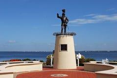 Ponce De Leon Statue på Punta Gorda Florida Arkivbilder