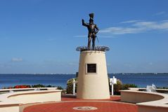 Ponce De Leon Statue at Punta Gorda Florida. A statue of early explorer Ponce De Leon searching for the fountain of youth Stock Images