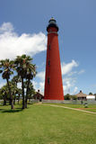Ponce Inlet Lighthouse. Sunlit view of the Ponce Inlet Lighthouse, just south of Daytona Beach, Florida Royalty Free Stock Photography