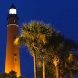 Ponce wpusta latarni morskiej łuny na Floryda Atlantyk Suną zdjęcie stock