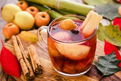 Ponche navidad mexico, mexican fruits hot punch traditional for christmas. Fruits from mexico royalty free stock image