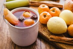 Ponche navidad mexico, mexican fruits hot punch traditional for christmas. Fruits from mexico royalty free stock photo