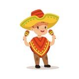 Poncho de garçon mignon et sombrero de port, costume national d'illustration colorée de vecteur de caractère du Mexique illustration libre de droits