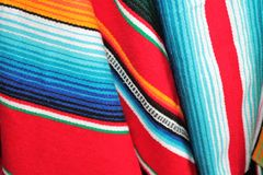 Poncho serape background Mexican cinco de mayo fiesta wooden copy space Royalty Free Stock Photography