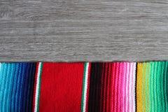 Poncho serape background Mexican cinco de mayo fiesta wooden copy space Stock Photography