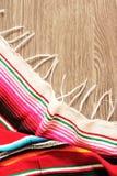 Poncho serape background Mexican cinco de mayo fiesta wooden copy space Royalty Free Stock Photos