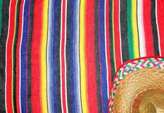 Poncho sombrero background cinco de mayo rug fiesta with stripes. Mexican poncho sombrero background cinco de mayo rug fiesta with stripes pattern copy space stock photo