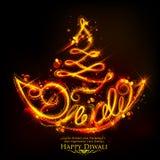 Płonący diya na szczęśliwym Diwali Wakacyjnym tle dla lekkiego festiwalu India Zdjęcie Royalty Free