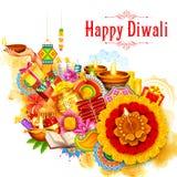 Płonący diya na szczęśliwym Diwali Wakacyjnym tle dla lekkiego festiwalu India Obrazy Royalty Free