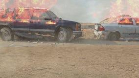 Płonący samochody uszkadzali rozmaitość przed ruinami niszczyć przy światłem dziennym zbiory