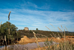 Pond. View of the Cerro del Hierro, and old iron mine in Seville Royalty Free Stock Image
