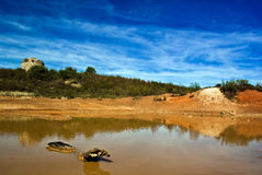 Pond. View of the Cerro del Hierro, and old iron mine in Seville Stock Photo