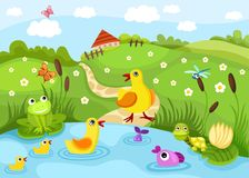 Pond. Illustration of a cute pond Royalty Free Stock Photo