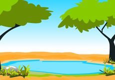 Pond. And trees. cartoon and illustration Royalty Free Stock Image