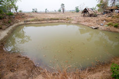 Pond for agriculture. Small pond for agriculture (during the dry season Royalty Free Stock Images