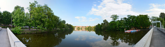 Pond Altenburg Germany. Panorama green Stock Image