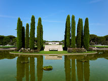 Pond of the American Military Cemetery in Nettuno Royalty Free Stock Photos