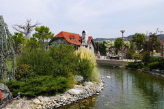 Pond in the amusement park Sochi Park in Adler Stock Photography