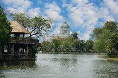 Pond with Ananta Samakhom Throne. A photo of landscape of a pond at public park with Ananta Samakhom Throne Hall in scenery under the blue sky, Thailand Royalty Free Stock Photos