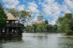 Pond with Ananta Samakhom Throne Royalty Free Stock Photos