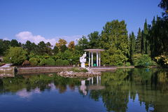 Pond in the Arboretum park. In the city of Sochi Royalty Free Stock Photo