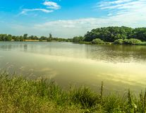 Pond area with open space, shore at the background with trees, forest and a mill stock photography