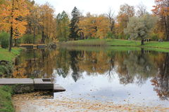Pond in the autumn. Reflection of trees in water of the wood lake hidden from eyes Stock Photo