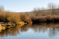 Pond in autumn in Oregon. A pond in the Malheur National Wildlife Refuge in the high desert of eastern Oregon in autumn Royalty Free Stock Photo