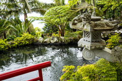 Pond in a Beautiful Garden at Monte above Funchal Madeira. This wonderful garden is at the top of the cablecar from the seafront in Funchal. It is filled with Stock Photo
