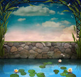 Pond with  blossoming  lilies Royalty Free Stock Photos