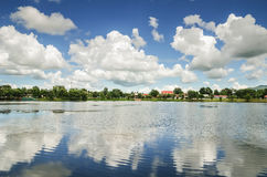 Pond and blue sky and white cloud Royalty Free Stock Photography