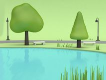 Pond blue water in green parks summer concept with low poly tree chair walkway lamp cartoon style 3d render