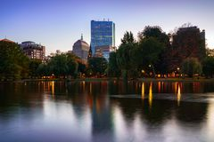 The pond at the Boston public garden stock image