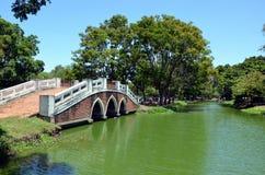 Pond and bridge Stock Image