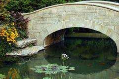 Pond and bridge in Ontario royalty free stock photo