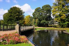 Pond and bridge in Pavilion Gardens, Buxton. Royalty Free Stock Image