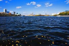 Pond and buildings in the center of Yekaterinburg Stock Photos