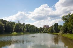Pond in Catherine Park in Moscow 21.07.2017 Royalty Free Stock Image