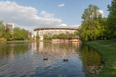 Pond in Catherine Park and Olympic Stadium Royalty Free Stock Image