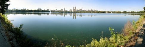 The Pond in Central Park Manhattan. Looking from East Side to West Site (180 Degree Panorama Stock Photography
