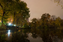 The Pond at Central Park south at night Stock Image