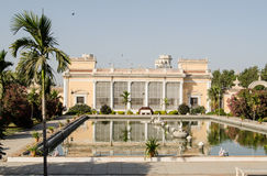 Pond, Chowmahalla Palace, Hyderabad. View along the pond at the historic Chowmahalla Palace in Hyderabad, India.  Built over 100 years ago for the ruling Nizams Stock Photography