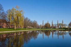 Pond in a city district in spring Royalty Free Stock Photos