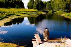 Pond com avó Imagens de Stock Royalty Free