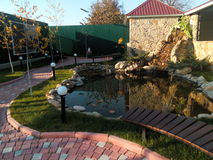 Pond in the courtyard Royalty Free Stock Photography